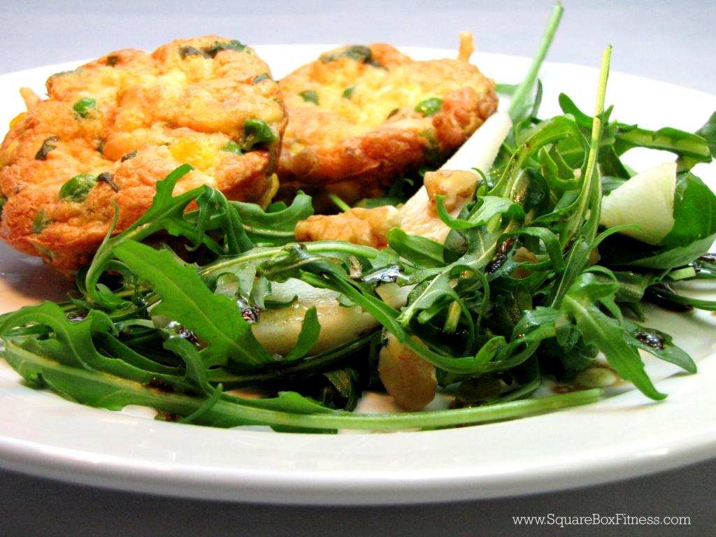 Corn & Pea Frittata with Pear Salad